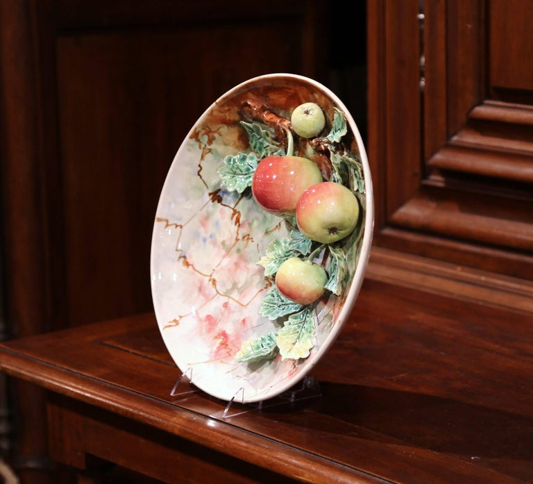 Pair of 19th Century French Painted Ceramic Barbotine Platters with Fruit Decor For Sale 3