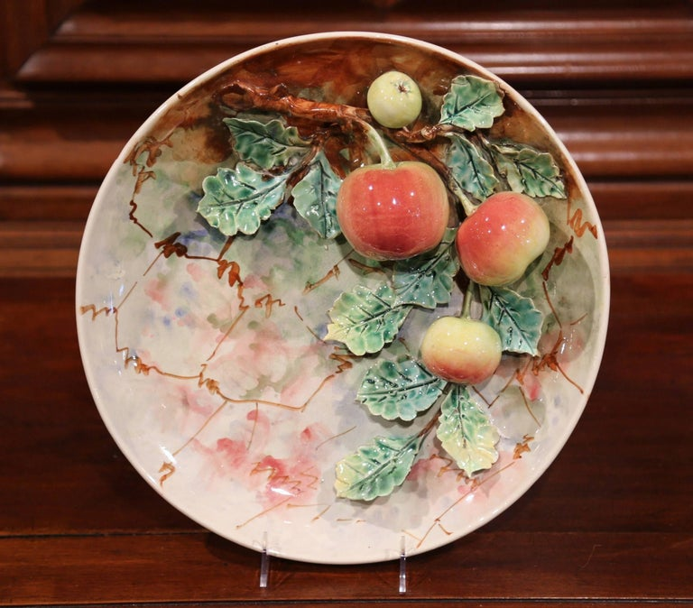 Pair of 19th Century French Painted Ceramic Barbotine Platters with Fruit Decor For Sale 1