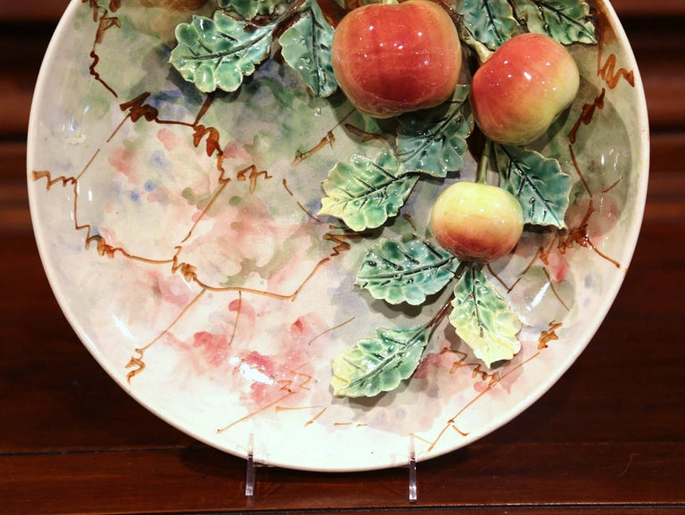 Pair of 19th Century French Painted Ceramic Barbotine Platters with Fruit Decor In Excellent Condition For Sale In Dallas, TX