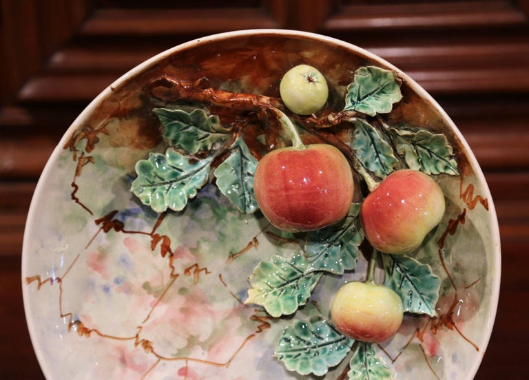 Hand-Crafted Pair of 19th Century French Painted Ceramic Barbotine Platters with Fruit Decor For Sale