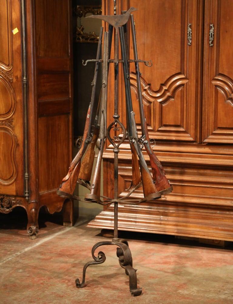 Mid 19th Century French Forged Iron Six Gun Display Rack