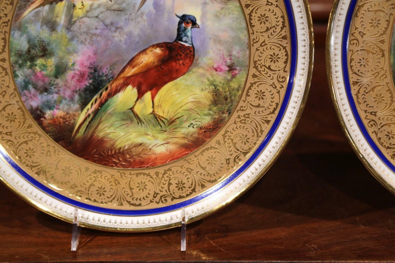 Pair of 19th Century French Hand-Painted Porcelain Plates with Duck and Peacock For Sale 2