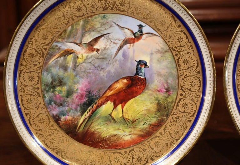 Pair of 19th Century French Hand-Painted Porcelain Plates with Duck and Peacock For Sale 3
