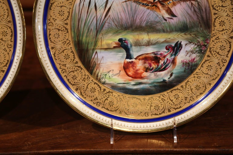 Pair of 19th Century French Hand-Painted Porcelain Plates with Duck and Peacock For Sale 1