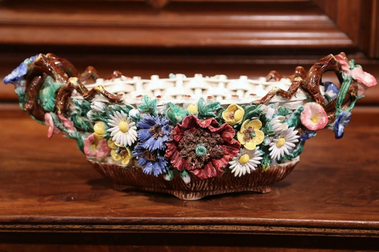 Hand-Crafted 19th Century French Painted Porcelain Barbotine Jardinière with Floral Motifs For Sale