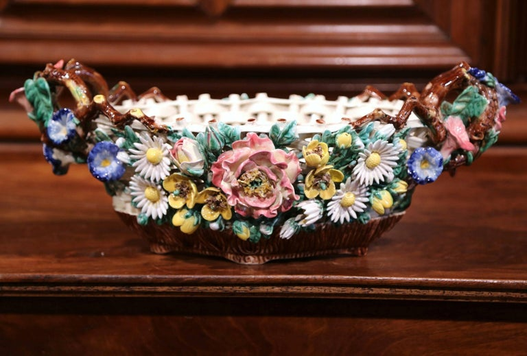 19th Century French Painted Porcelain Barbotine Jardinière with Floral Motifs For Sale 1