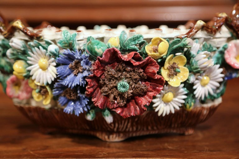 19th Century French Painted Porcelain Barbotine Jardinière with Floral Motifs In Excellent Condition For Sale In Dallas, TX