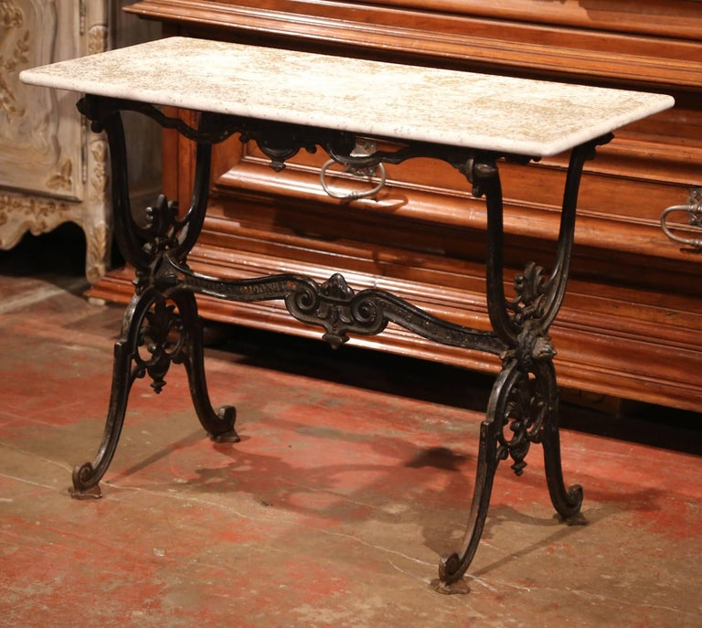 Napoleon III 19th Century French Black Iron Bistrot Table with Original Weathered Marble Top For Sale