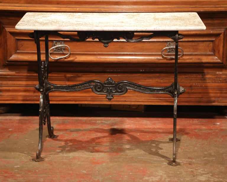 Hand-Crafted 19th Century French Black Iron Bistrot Table with Original Weathered Marble Top For Sale