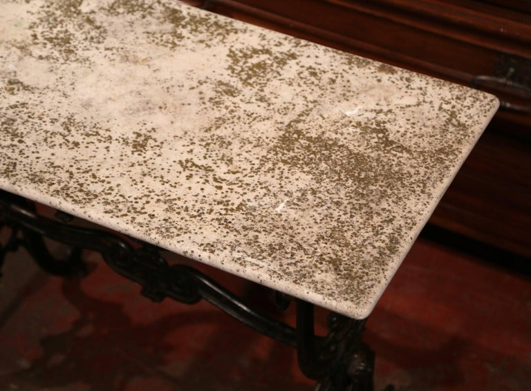 19th Century French Black Iron Bistrot Table with Original Weathered Marble Top For Sale 2
