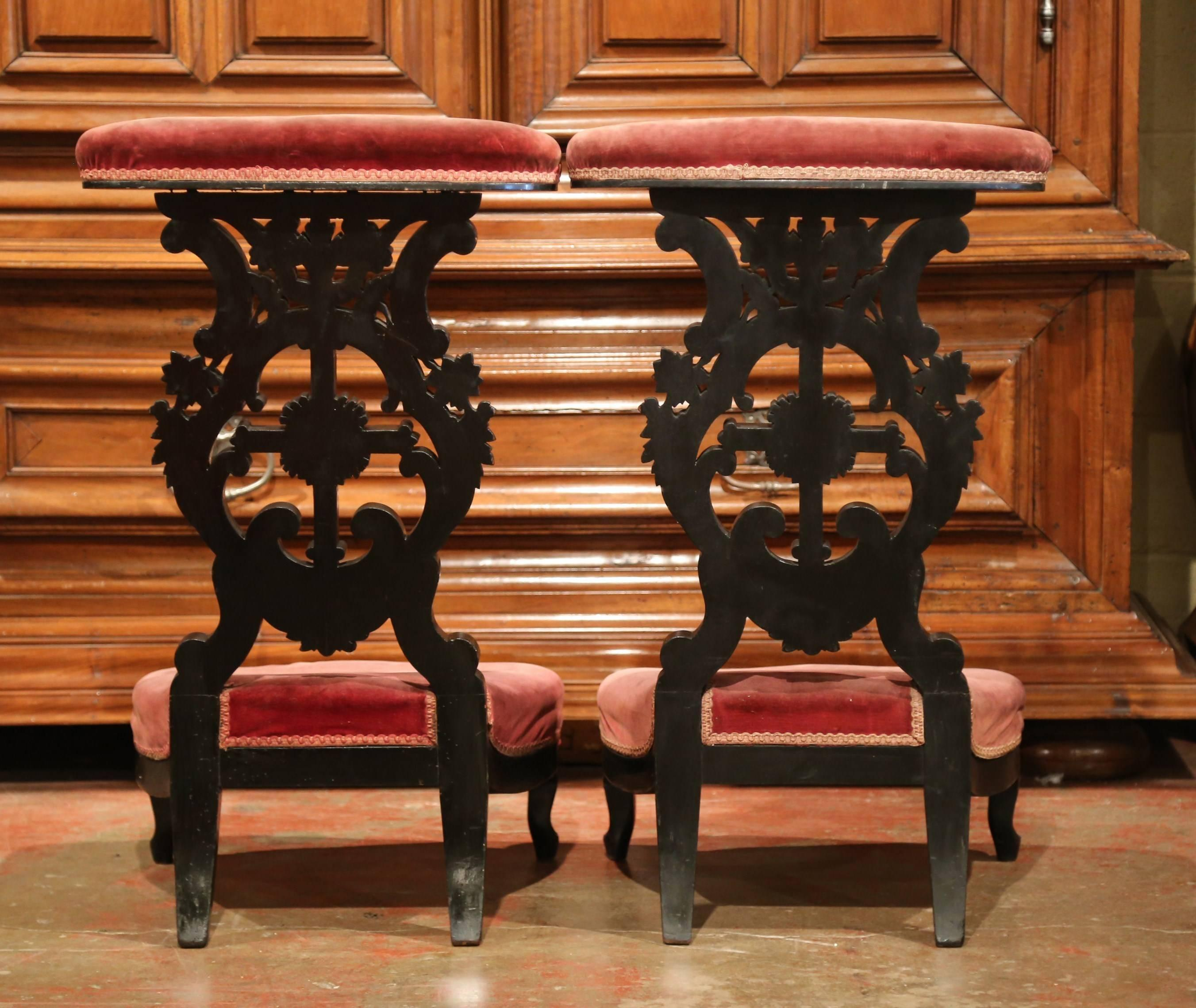 Pair Of French Louis XV Hand Carved Walnut Prayer Chairs With Blackened  Finish For Sale 1