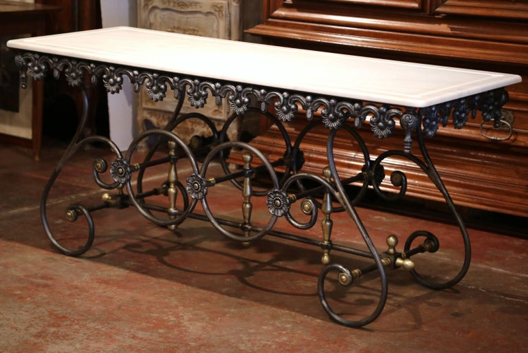 Contemporary French Polished Iron Butcher Pastry Table with Marble Top and Brass Finials For Sale