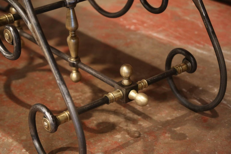 French Polished Iron Butcher Pastry Table with Marble Top and Brass Finials For Sale 4