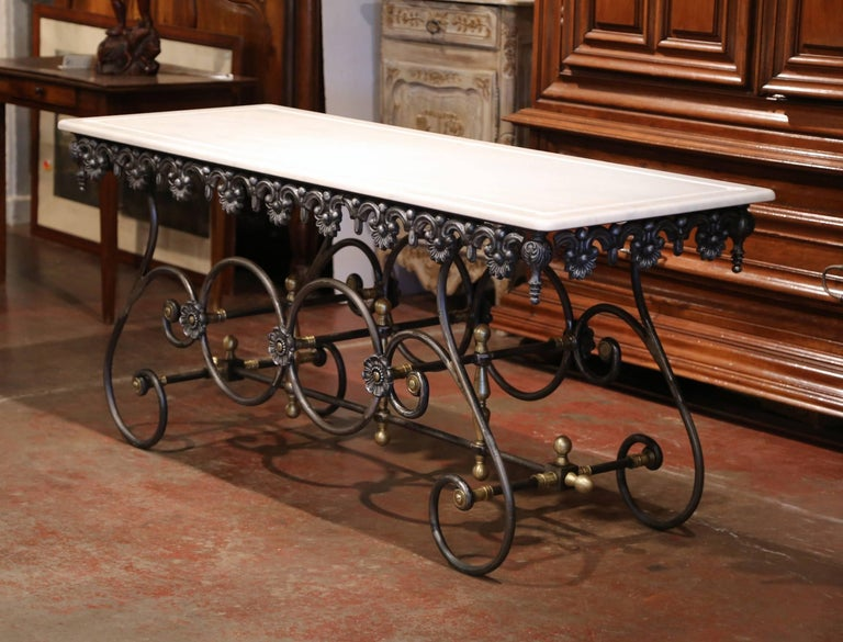 French Polished Iron Butcher Pastry Table with Marble Top and Brass Finials For Sale 2