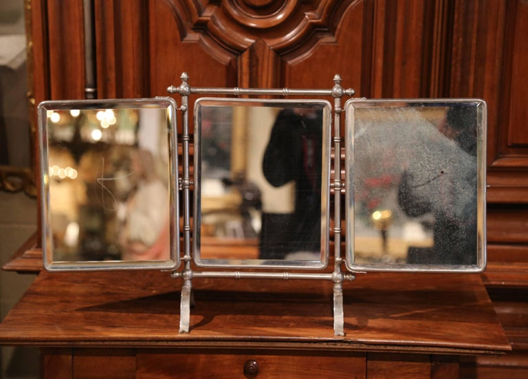 19th Century French Freestanding Folding Triptych Mirror with Bevelled Glass For Sale 2