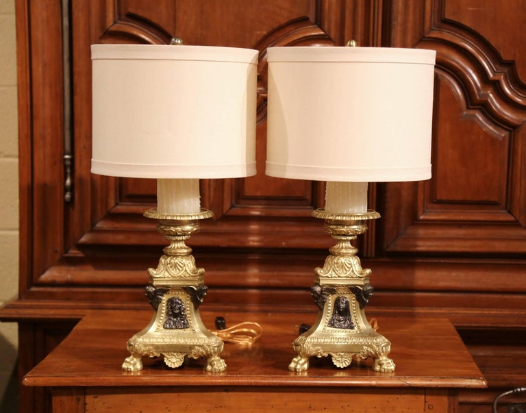 Hand-Crafted Pair of 19th Century French Patinated Bronze Candlesticks Made into Table Lamps For Sale