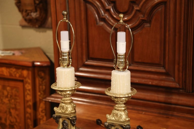 Pair of 19th Century French Patinated Bronze Candlesticks Made into Table Lamps For Sale 1