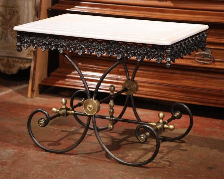 Contemporary Polished French Iron Butcher or Pastry Table with Marble Top and Brass Mounts For Sale