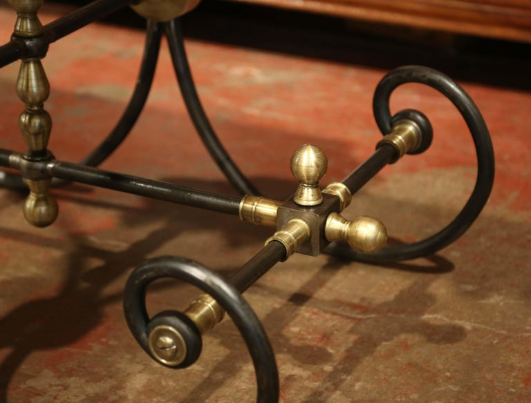 Polished French Iron Butcher or Pastry Table with Marble Top and Brass Mounts For Sale 2