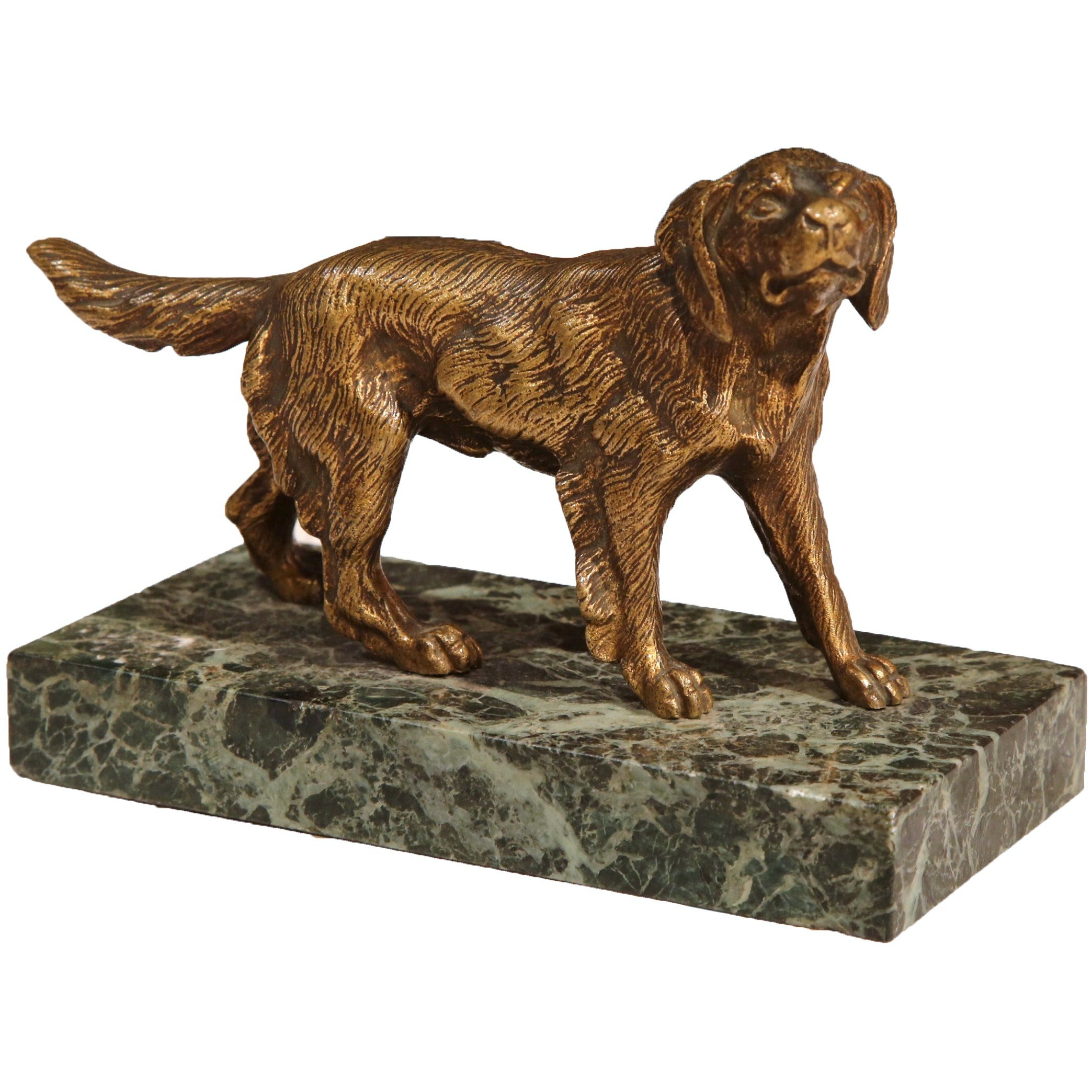 Early 20th Century French Bronze Setter Sculpture on Marble Base Signed Fradin