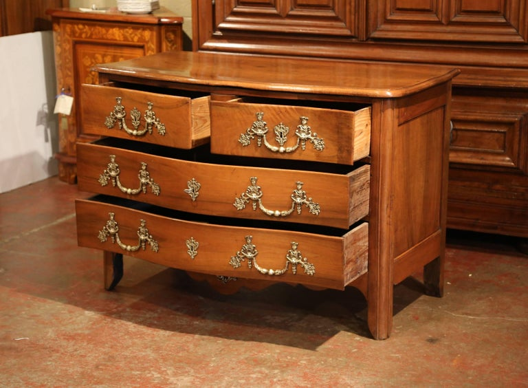Hand-Carved 18th Century French Louis XIV Carved Walnut Commode Chest with Bronze Hardware For Sale