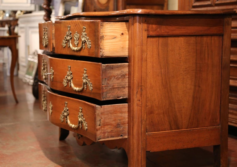18th Century French Louis XIV Carved Walnut Commode Chest with Bronze Hardware For Sale 2