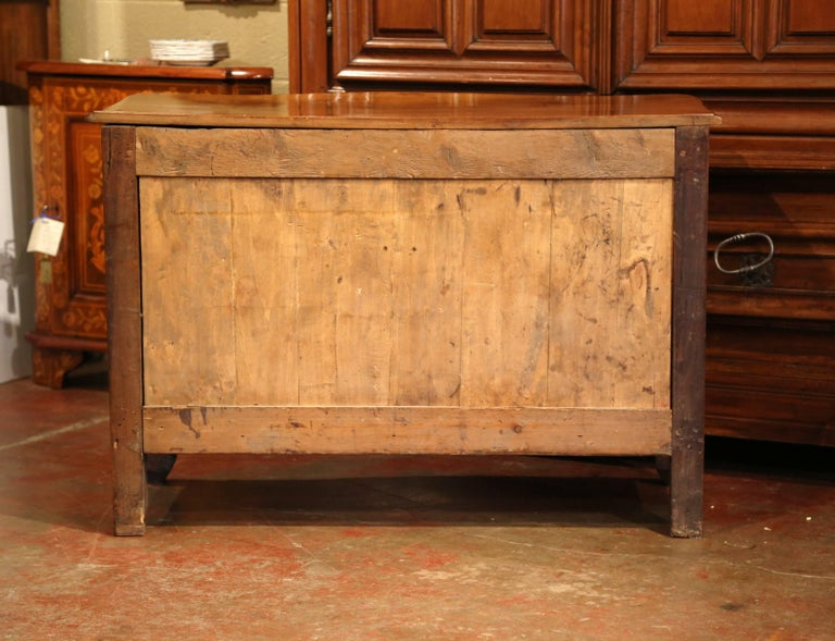 18th Century French Louis XIV Carved Walnut Commode Chest with Bronze Hardware For Sale 5