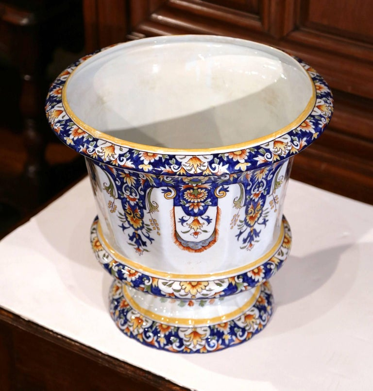 Important Early 20th Century, French Hand-Painted Faience Planter from Normandy For Sale 1