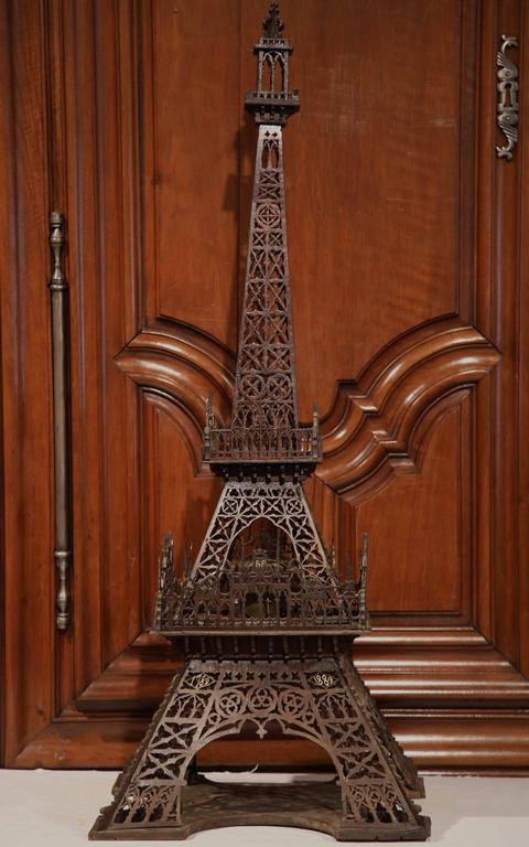19th Century French Hand Carved Eiffel Tower with Centre Clock For Sale 1