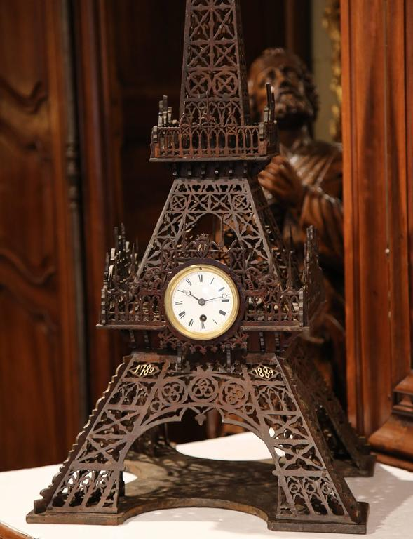 Wood 19th Century French Hand Carved Eiffel Tower with Centre Clock For Sale