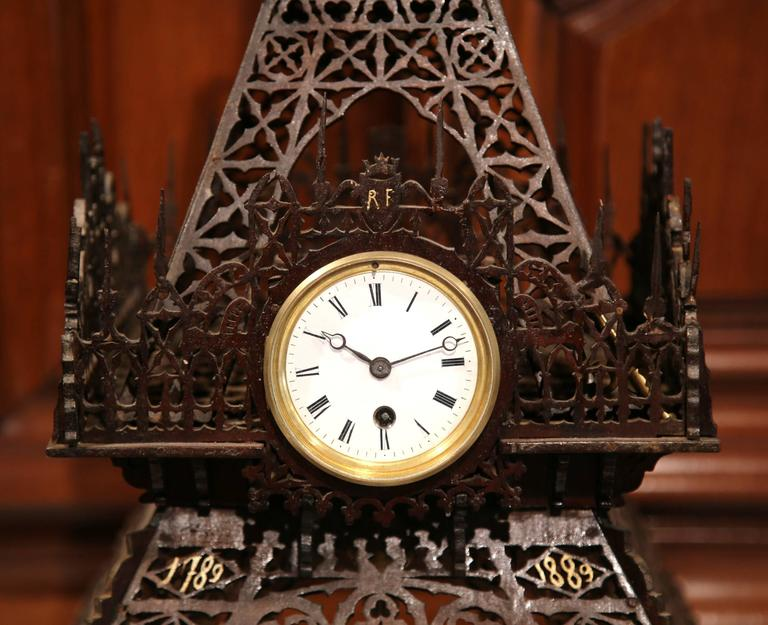 19th Century French Hand Carved Eiffel Tower with Centre Clock In Excellent Condition For Sale In Dallas, TX