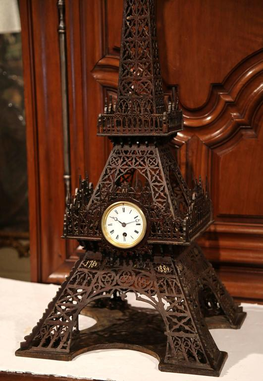 Hand-Carved 19th Century French Hand Carved Eiffel Tower with Centre Clock For Sale