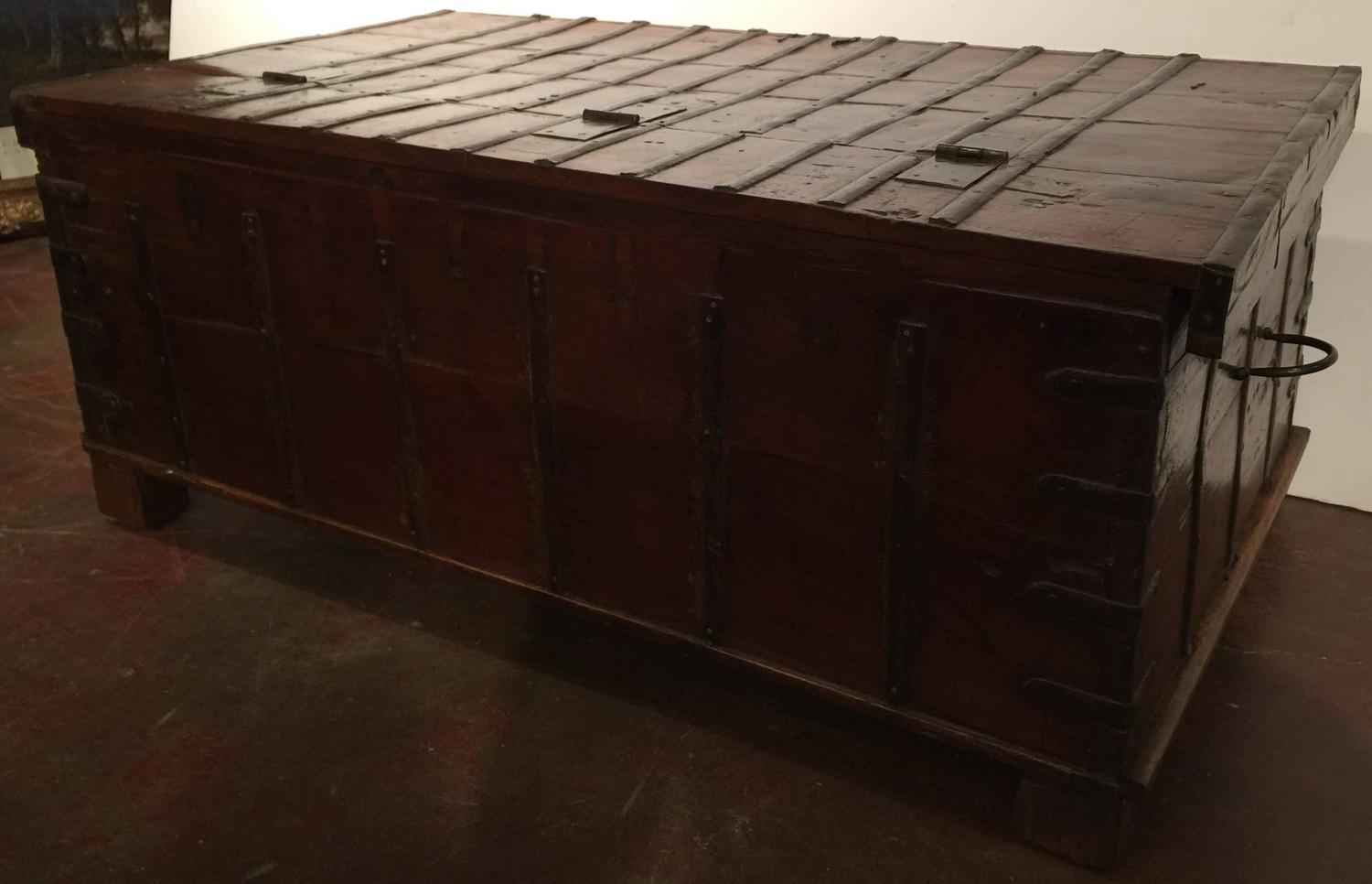 Antique Carved Chestnut Trunk Coffee Table For Sale at 1stdibs