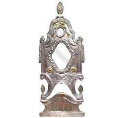 19th Century French Repousse Silver Plated and Copper Wall Mirror