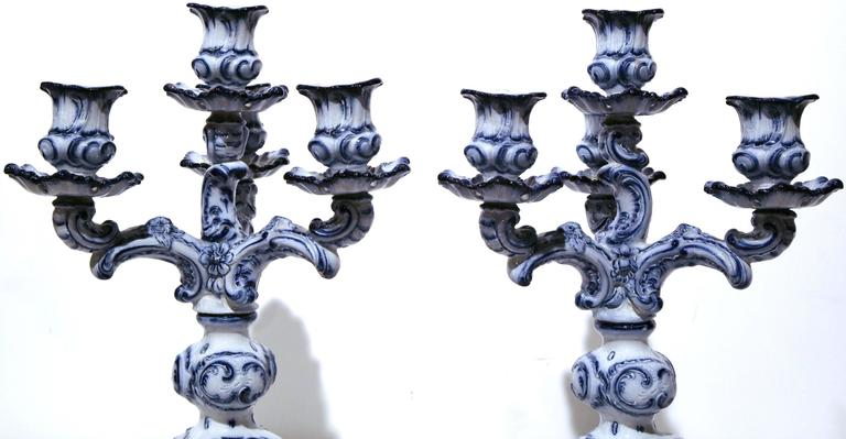 Hand-Crafted Pair of 19th Century French Blue and White Delft Style Four-Arm Candleholders For Sale