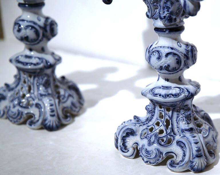 Pair of 19th Century French Blue and White Delft Style Four-Arm Candleholders In Excellent Condition For Sale In Dallas, TX