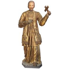 18th Century Spanish Carved Statue of Saint Francis-Xavier with Gold Leaf Finish