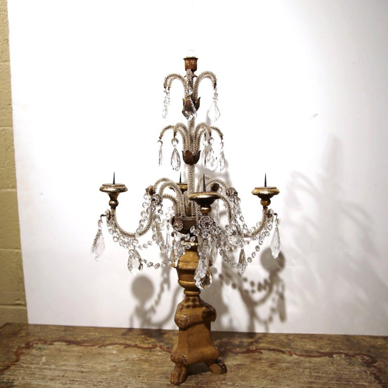 Pair of Early 20th Century Italian Gold Leaf Candlesticks with Crystal and Glass For Sale 3