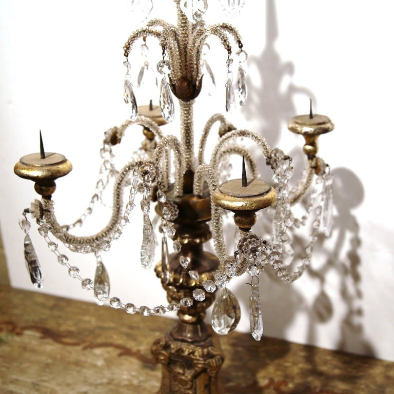 Hand-Carved Pair of Early 20th Century Italian Gold Leaf Candlesticks with Crystal and Glass For Sale