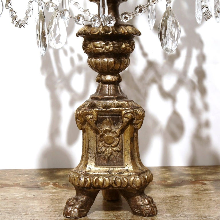 French Pair of Early 20th Century Italian Gold Leaf Candlesticks with Crystal and Glass For Sale