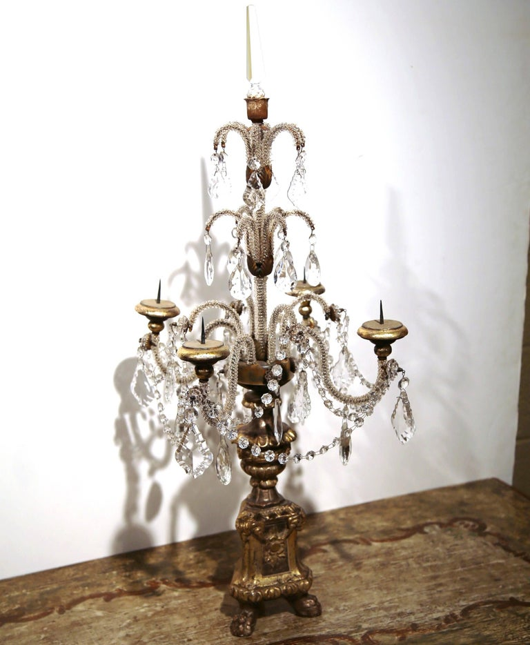 Giltwood Pair of Early 20th Century Italian Gold Leaf Candlesticks with Crystal and Glass For Sale