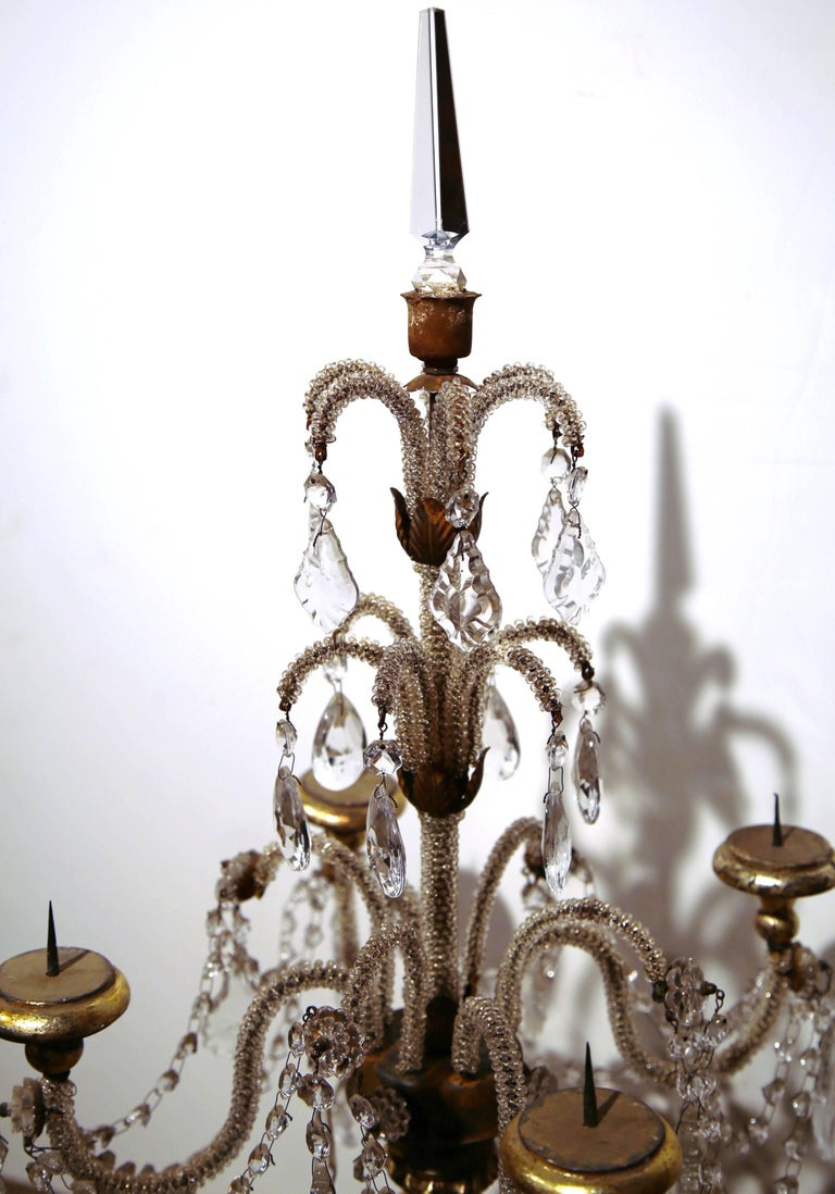 Pair of Early 20th Century Italian Gold Leaf Candlesticks with Crystal and Glass For Sale 1