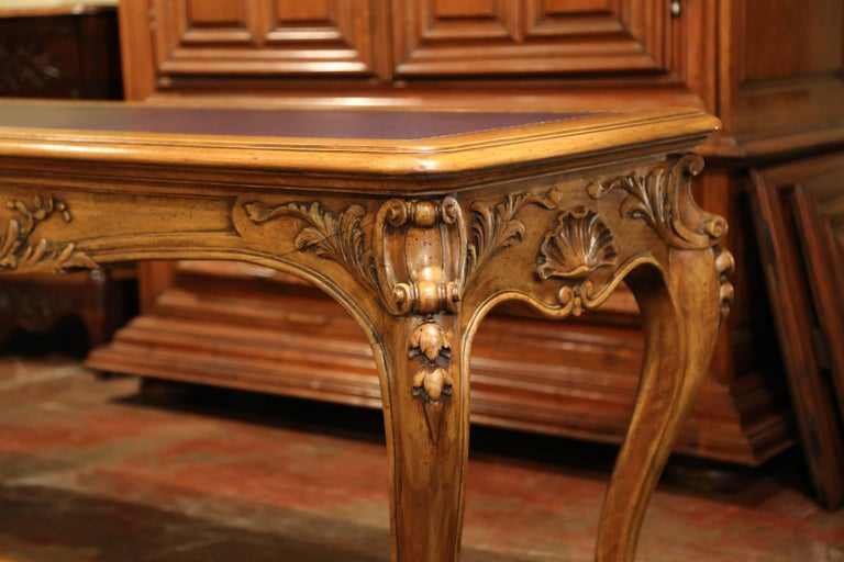 Hand-Carved Large 19th Century French Louis XV Carved Walnut Console Desk with Leather Top For Sale