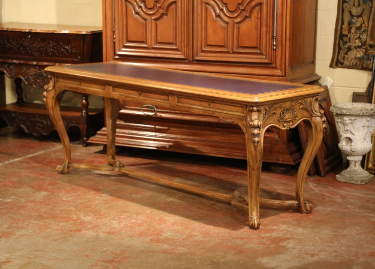 Large 19th Century French Louis XV Carved Walnut Console Desk with Leather Top For Sale 1