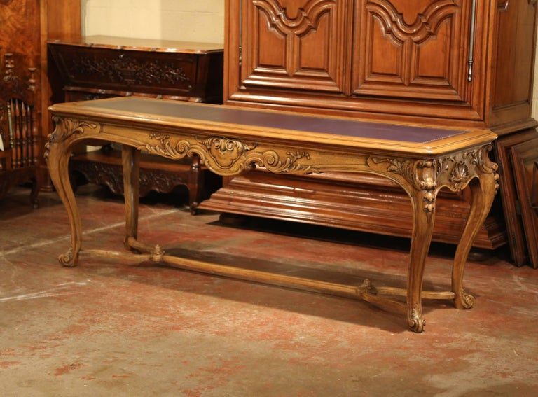 Large 19th Century French Louis XV Carved Walnut Console Desk with Leather Top For Sale 2