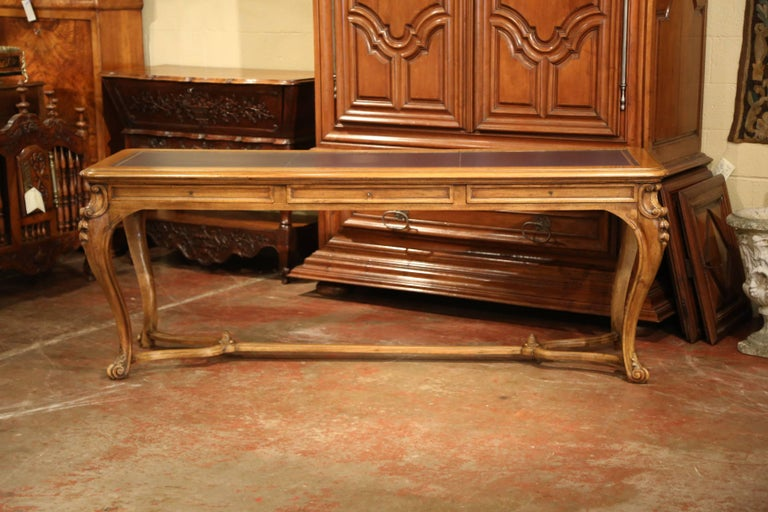 Large 19th Century French Louis XV Carved Walnut Console Desk with Leather Top For Sale 4