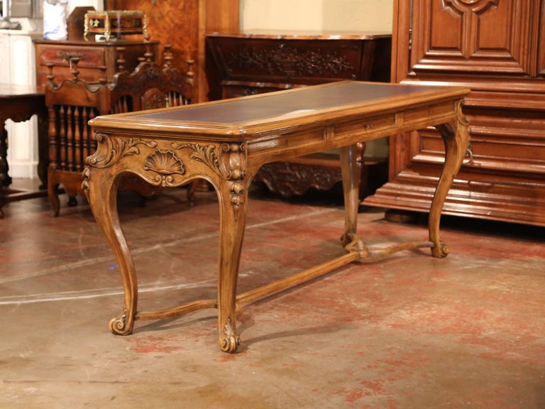 Large 19th Century French Louis XV Carved Walnut Console Desk with Leather Top For Sale 5