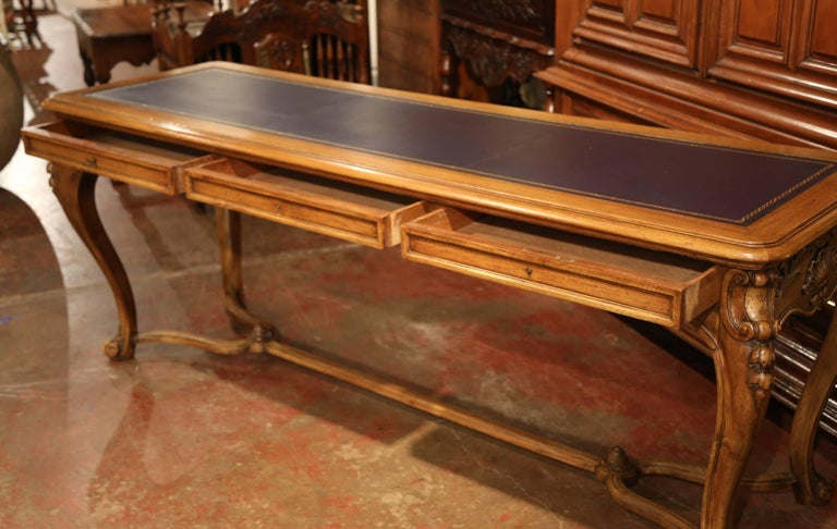 Large 19th Century French Louis XV Carved Walnut Console Desk with Leather Top For Sale 6