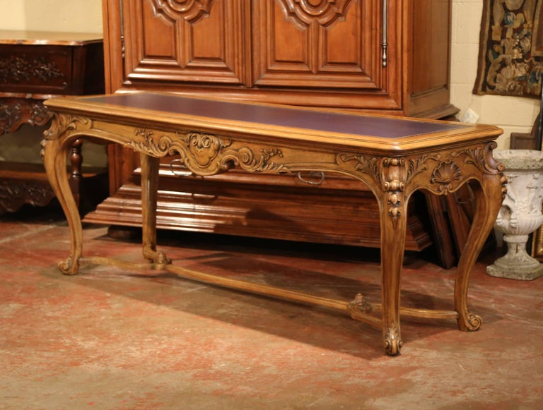 Large 19th Century French Louis XV Carved Walnut Console Desk with Leather Top For Sale 8