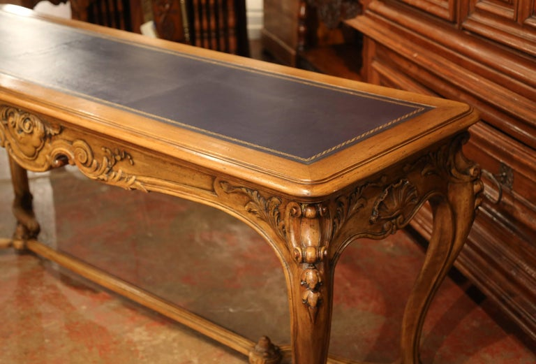 Large 19th Century French Louis XV Carved Walnut Console Desk with Leather Top For Sale 9